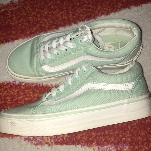 Vans Old Skool Lace Up Mint Green & White Sneakers